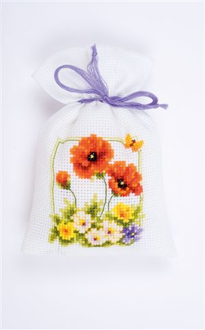 click here to view larger image of Poppy Flower Sachet (counted cross stitch kit)