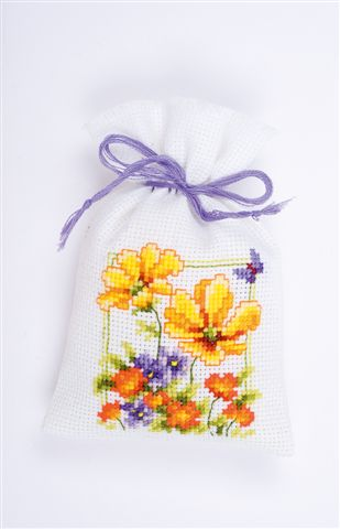 click here to view larger image of Mixed Spring Flower Sachet (counted cross stitch kit)