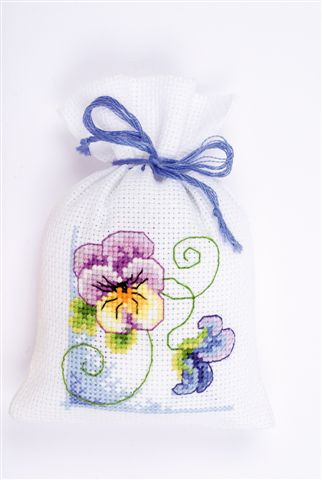 click here to view larger image of Pansy Sachet (counted cross stitch kit)