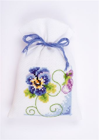 click here to view larger image of Blue Pansy Sachet (counted cross stitch kit)