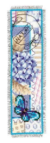 click here to view larger image of Hydrangea/Butterfly Bookmark (counted cross stitch kit)