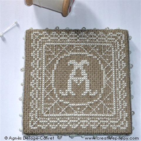 click here to view larger image of White Lace Pinkeep with Monograms (chart)