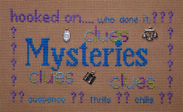 click here to view larger image of Hooked on Mysteries (chart with charms/buttons)