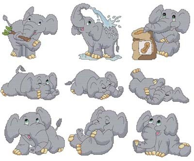 click here to view larger image of Cute Elephants (chart)