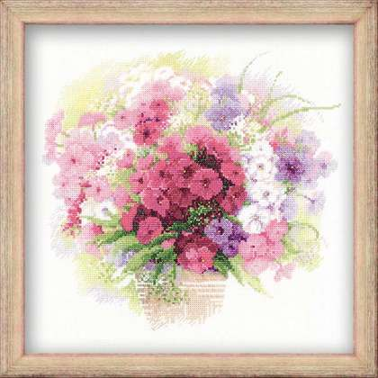 click here to view larger image of Watercolour Phlox (counted cross stitch kit)
