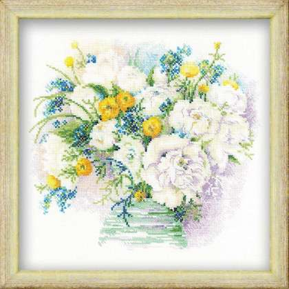 click here to view larger image of Watercolour Peonies (counted cross stitch kit)