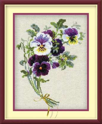 click here to view larger image of Bunch of Pansies (counted cross stitch kit)