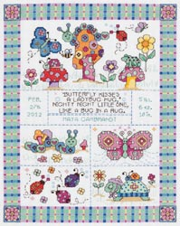 click here to view larger image of Bug In A Rug Birth Announcement (counted cross stitch kit)