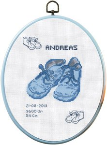 click here to view larger image of Andreas Birth Annoucement (counted cross stitch kit)