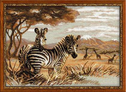 click here to view larger image of Zebras in the Savannah (counted cross stitch kit)