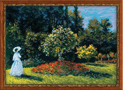 click here to view larger image of Woman in a Garden (Monet Painting) (counted cross stitch kit)