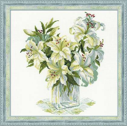 click here to view larger image of White Lilies (counted cross stitch kit)