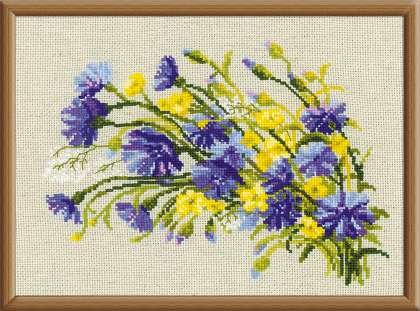 click here to view larger image of Cornflowers & Buttercups (counted cross stitch kit)