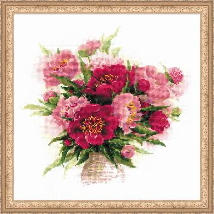 click here to view larger image of Peonies in a Vase (counted cross stitch kit)