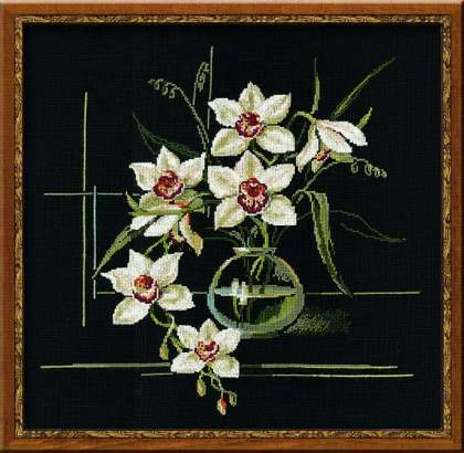click here to view larger image of White Orchid (counted cross stitch kit)
