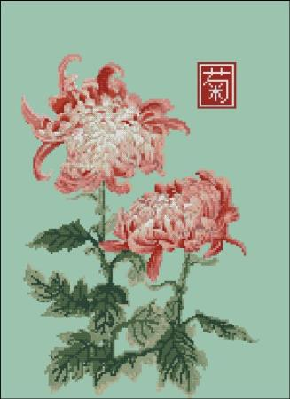 click here to view larger image of Japanese Chrysanthemum Double Red White (chart)