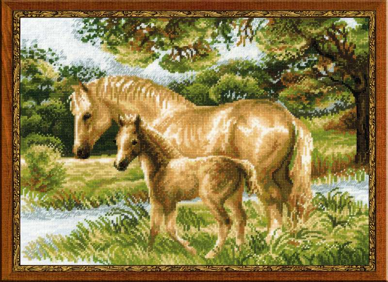 click here to view larger image of Horse With Foal (counted cross stitch kit)
