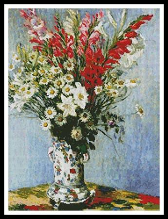 click here to view larger image of Bouquet of Gladiolis Lilies and Daisies  (Claude Monet) (chart)