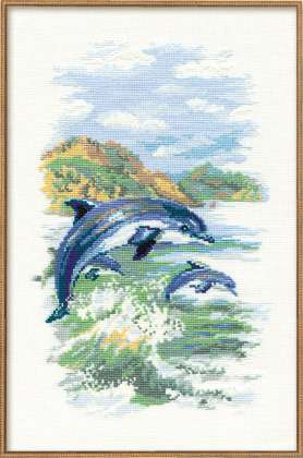click here to view larger image of Dolphins (counted cross stitch kit)