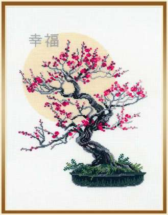 click here to view larger image of Bonsai Sakura Wish of Well Being (counted cross stitch kit)