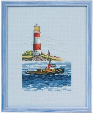 click here to view larger image of Boat Lighthouse (counted cross stitch kit)