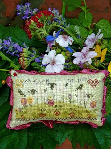 click here to view larger image of Flock of Pins Cushion (counted cross stitch kit)