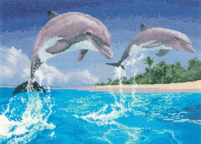 click here to view larger image of Dolphins - Power and Grace (Kit) (counted cross stitch kit)
