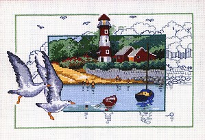 click here to view larger image of Gulls by the Lighthouse (counted cross stitch kit)