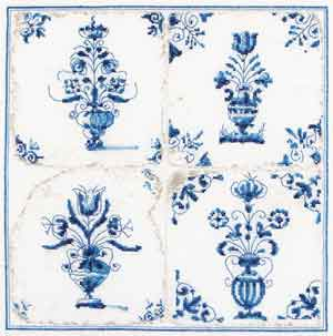 click here to view larger image of Antique Tiles - Flower Vases - Aida (counted cross stitch kit)