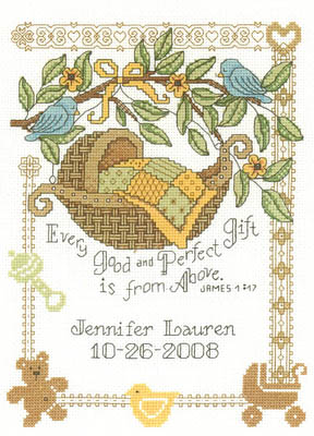 click here to view larger image of Perfect Gift Birth Record - Kit (counted cross stitch kit)