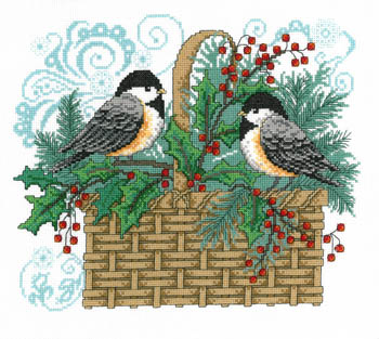 click here to view larger image of Winter Chickadee Basket - Kit (counted cross stitch kit)