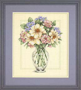 click here to view larger image of Flowers in Tall Vase (counted cross stitch kit)