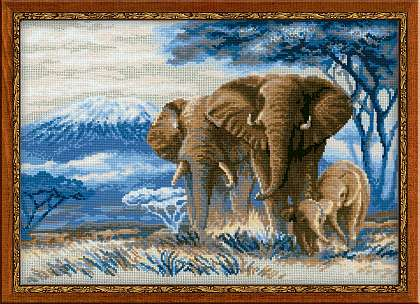 click here to view larger image of Elephants in the Savannah (counted cross stitch kit)