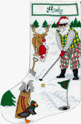 click here to view larger image of Golfing Santa Stocking (chart (special))