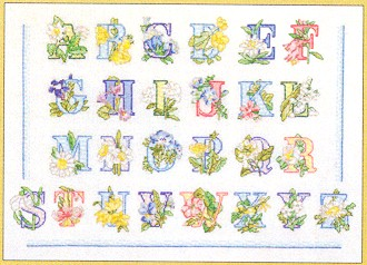 click here to view larger image of Flower Alphabet (counted cross stitch kit)