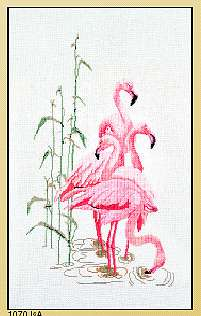 click here to view larger image of Feeding Flamingos - Linen (counted cross stitch kit)