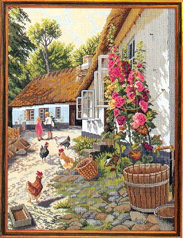 click here to view larger image of Children With Chickens (counted cross stitch kit)