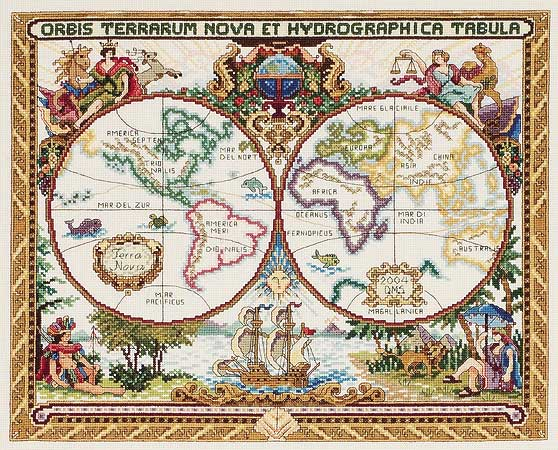 click here to view larger image of Olde World Map (counted cross stitch kit)