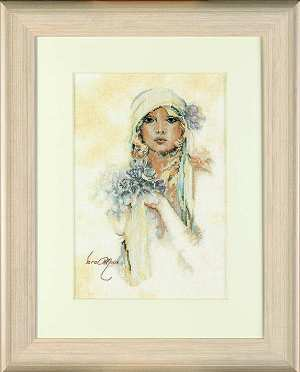 click here to view larger image of Lady with Sarah Moon Lilac Flower - 35ct (counted cross stitch kit)