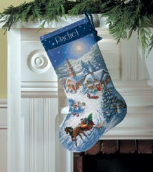 click here to view larger image of Sleigh Ride at Dusk Stocking (counted cross stitch kit)