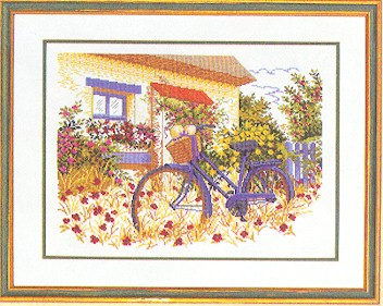 click here to view larger image of Bicycle in the Garden (counted cross stitch kit)