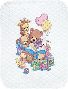 click here to view larger image of Teddy and Friends Crib Cover (stamped crib cover)