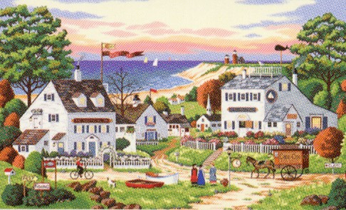 click here to view larger image of Cozy Cove - Charles Wysocki (counted cross stitch kit)