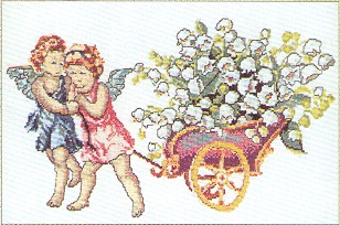 click here to view larger image of Cherubs Pulling Cart (counted cross stitch kit)