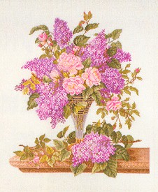 click here to view larger image of Lilacs in a Vase (counted cross stitch kit)