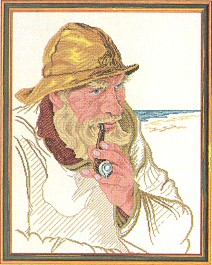 click here to view larger image of Fisherman with Pipe (counted cross stitch kit)