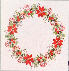 click here to view larger image of Poinsettia Table Topper (counted cross stitch kit)