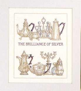 click here to view larger image of Brilliant Silver Dinnerware (counted cross stitch kit)