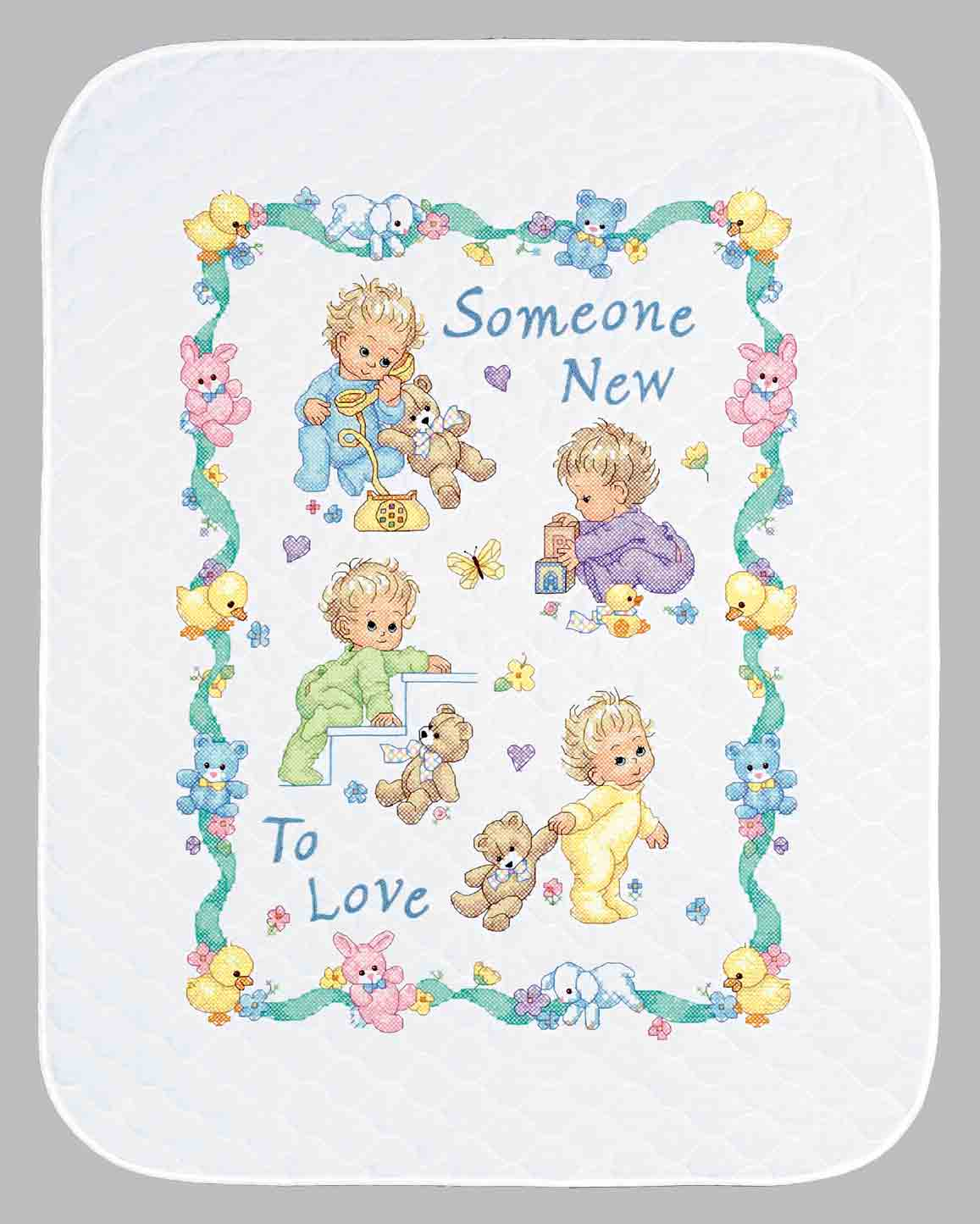 click here to view larger image of Someone New Crib Cover (stamped cross stitch kit)