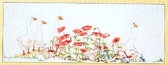 click here to view larger image of Geese in the Poppies (counted cross stitch kit)